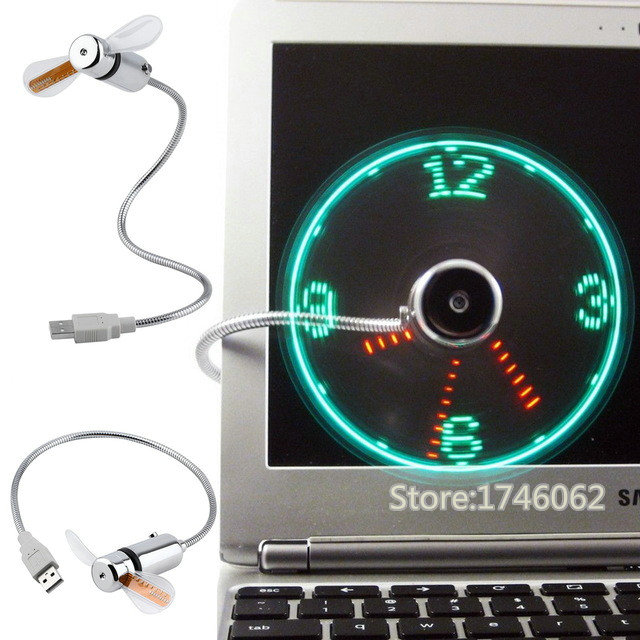 Hot selling New LED USB Fan Clock Mini Flexible Time with LED Light - Cool Gadget Adjustable USB Gadgets Free shipping(China (Mainland))