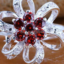 6Pcs 6-Leaf Ribbon Flower Red Garnet Gems Silver Wedding Ring