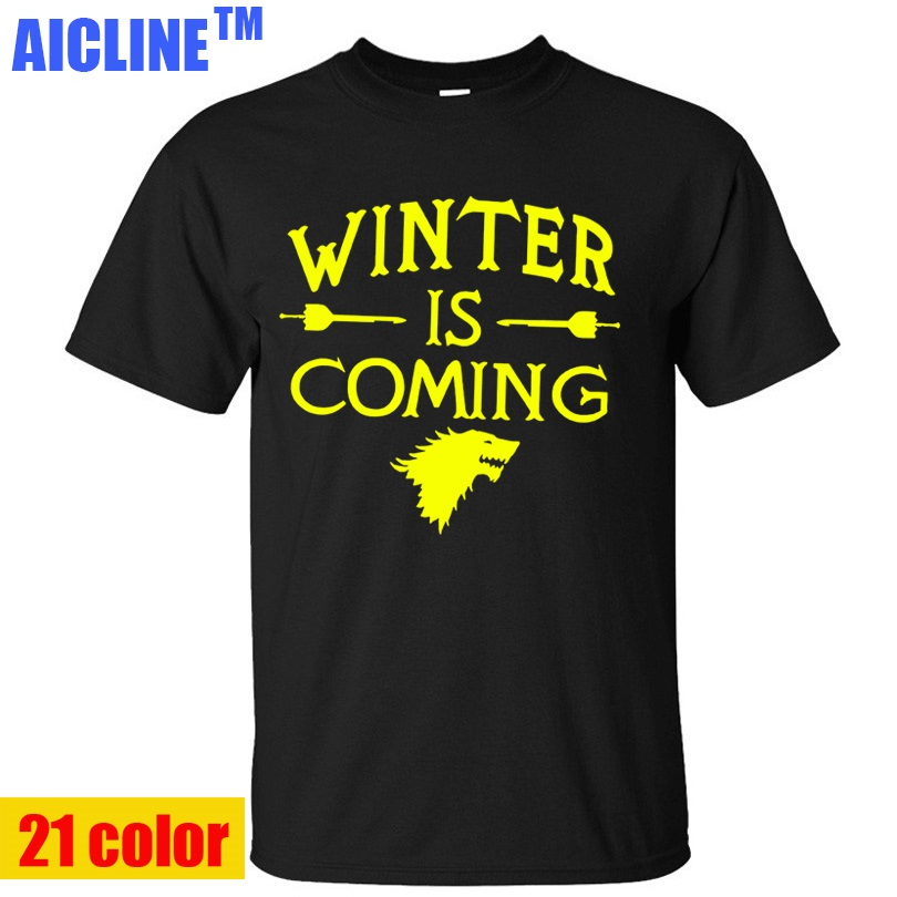 Tee Shirt Printed Mens Tops Wholesale Man Clothing Hip Hop Game of Thrones Winter Is Coming T Shirts Casual Men(China (Mainland))