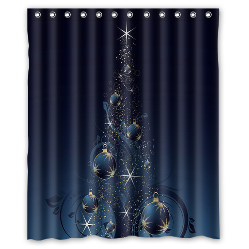 Custom Polyester Waterproof Fabric Bath Curtains Tree