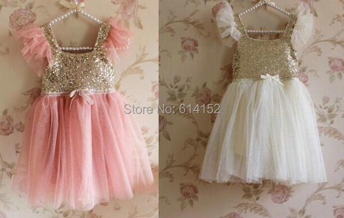 2015 Summer Girls Sequins Dresses Children Gauze Camisole Princess Party kids baby girl dress clothing  -  Hongfei Garment Co., Ltd. store