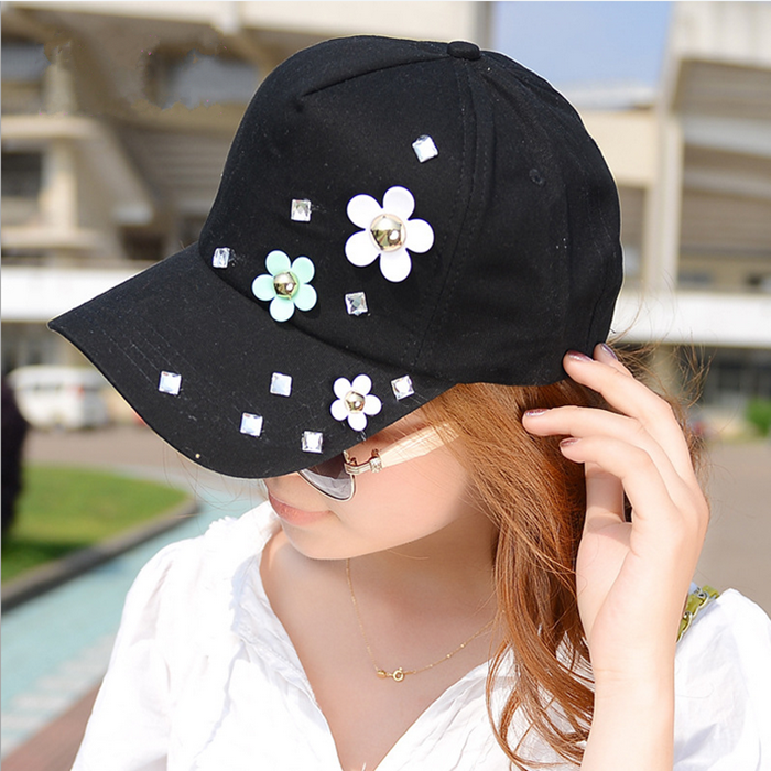 Fashion treding women sweet solid color baseball caps summer small flower hip hop cap casual outside sport sunbonnet - Women's Headbands store