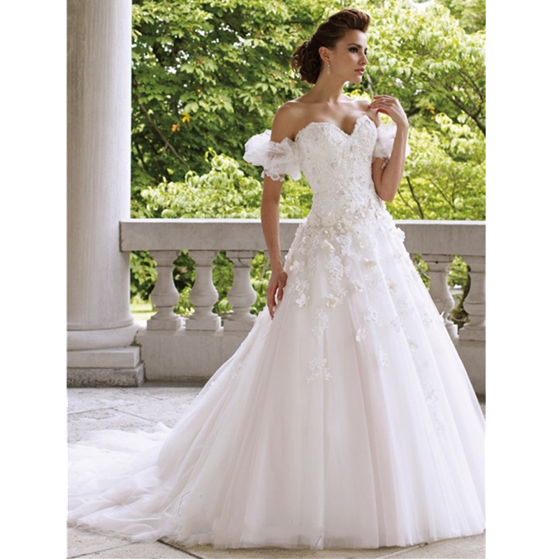 exquisite lace wedding dresses a line tulle court train wedding gowns