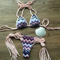 CRESTGOLF Lace up Women Bikinis Padded Swimsuits Beach Bathing Suits Tassel Sexy Bikinis Set Swimwear