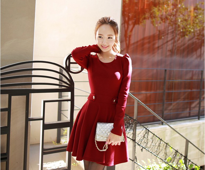 Spring 2014 New Arrivals causual fashion Long sleeve Shoulder strap Collect waist Pleated dress women dresses - Nana001 store