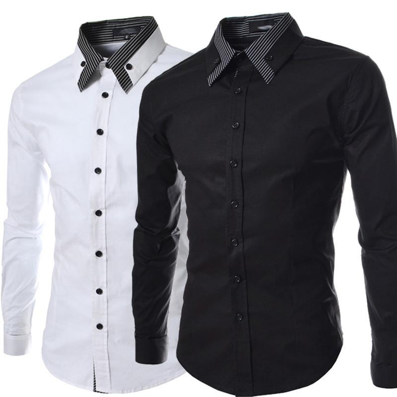 2015 brand mens dress shirts men double collar slim fit for Dress shirt collar fit
