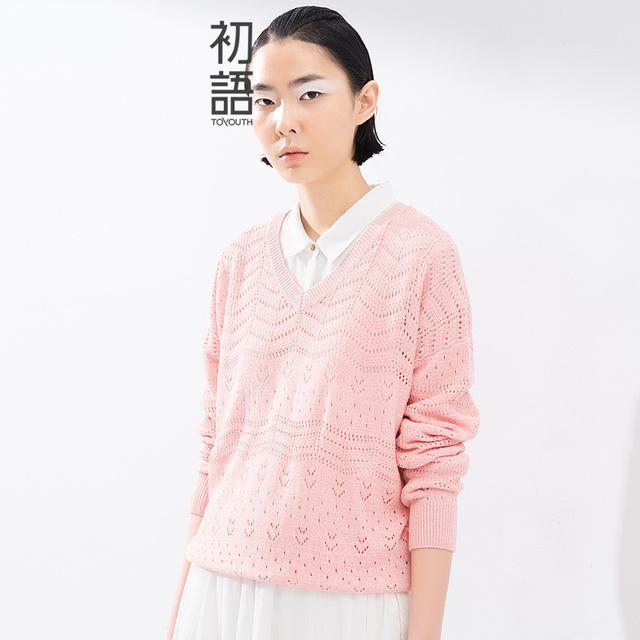 Toyouth 2016 Весна Лето Новое Прибытие V-образным Вырезом Сплошной Мода Пуловеры ...