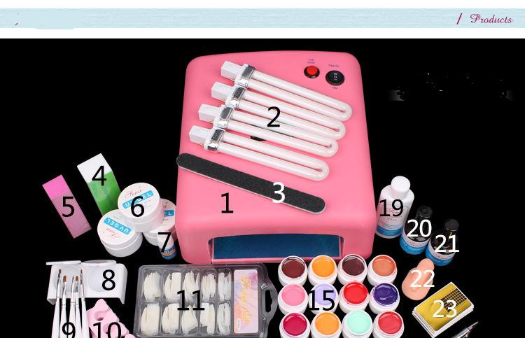 New 36W UV Dryer Lamp Timer Block Sanding French Nail Art Tips Gel Tools DIY Kit manicure set nail art equipment <br><br>Aliexpress