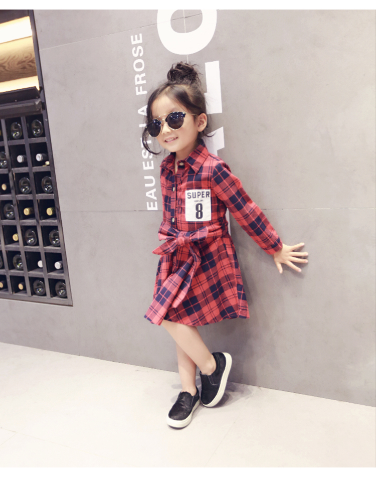 wholesale(5pcs/lot)- 2016 Spring girls digital Plaid Dress  FOR CHILD GIRL<br><br>Aliexpress