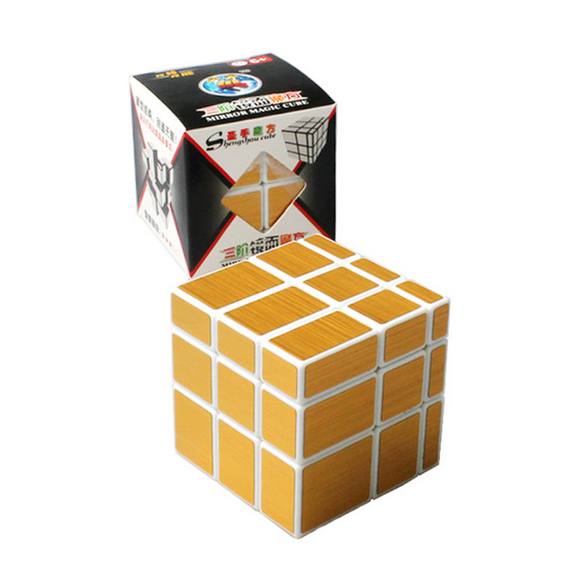 New Magic Cube 3x3x3 ShengShou Mirror Sticker Speed Puzzle Gold&Silver Cubo Magico Profissional Learning & Education Toys(China (Mainland))