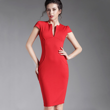 Buy Spring Sexy red black Deep V bodycon bandage Business work office Party Pencil sheath vintage women summer casual dress 521 for $13.62 in AliExpress store