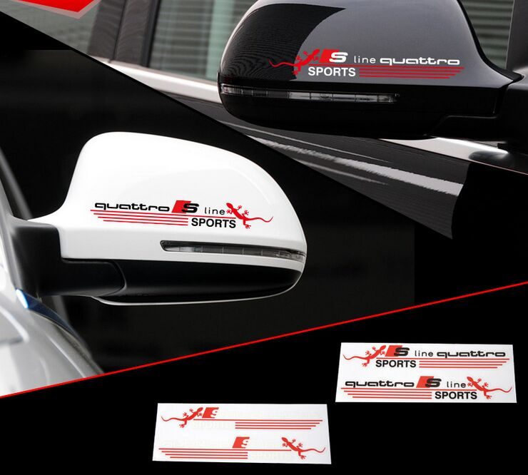 For Audi A4 A6 s-line logo rearview mirror Excellent New 3DM rear view mirror car Sticker Badge case gecko modified car styling(China (Mainland))