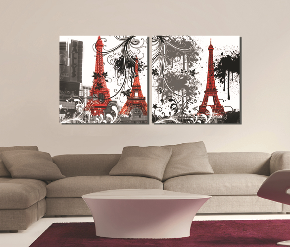 Canvas prints 2 panels wall art set square paris eiffel for Decoration goods