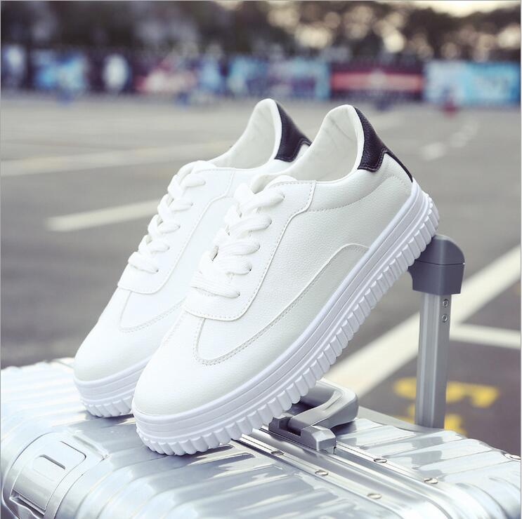 Hot !2017 New Women's Genuine Leather Platform Shoes White Breathable Lady casual Shoes lace up girls loafers flats mother shoes