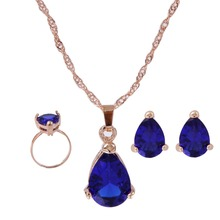 Fashion Sapphire Austria Crystal Water Drop Earrings Necklace Ring Jewelry Sets For Women Party Acessories(China (Mainland))