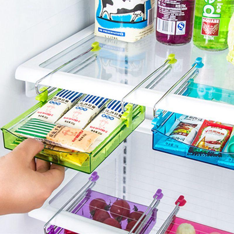 Refrigerator organizer stainless steel track plastic drawer colorful storage box useful shelves under desk office organizer(China (Mainland))