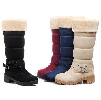 Женское зима тёплый средняя средний-икры сапоги искусственная замша мех снегоступы ...