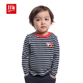 baby boys t shirt O neck pullover baby clothing long sleeve striped bottoming shirt 2015 new