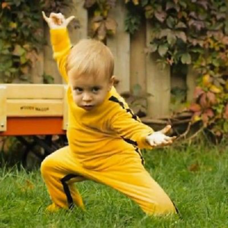 2015 Spring/Autumn/Winter Baby Rompers Boys Clothes Newborn Boys Yellown Bruce Lee Kung Fu Romper Jumpsuit Outfit 6M-18M