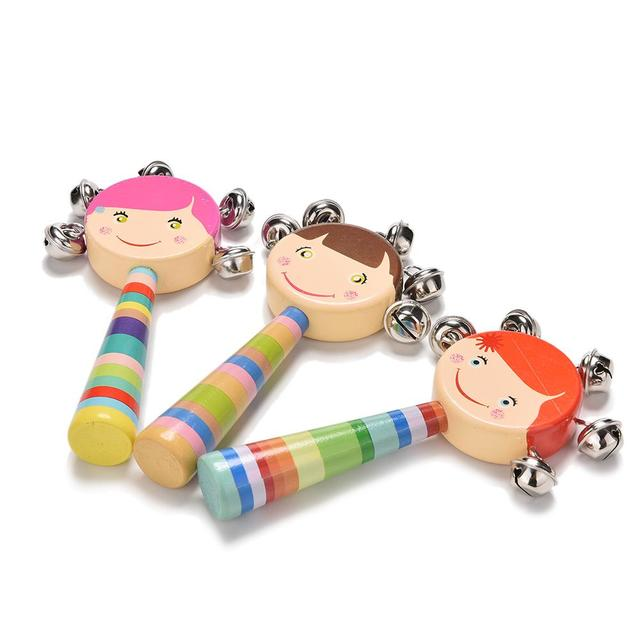 1pc newborn educational baby wooden toys 0-12 month Baby Colorful Bebe Handbell Baby Rattles & Mobiles Geometric shape