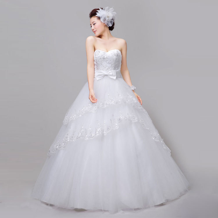 Wedding dress 2014 Korean version latest sweet princess sequins hanging neck thin lace tutu - Fashion Gown store