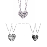 New combination 2015 New Arrival 3 Styles Best Friend Necklace Peach Heart Pendant Necklace Wholesale