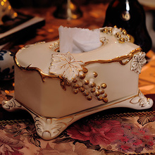 Fashion table napkin box quality porcelain ivory ceramic tissue box pumping paper box (China (Mainland))