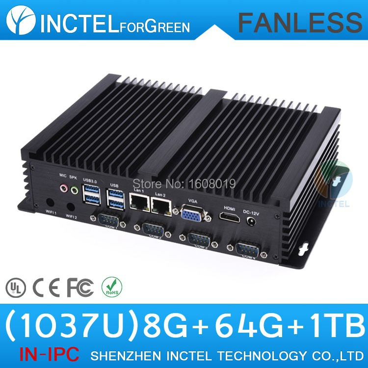 Intel Celeron C1037U 1.8Ghz CPU auto boot USB 3.0 Dual Gigabit Lan 4 COM HDMI 8G RAM 64G SSD 1TB HDDFanless small industrial pc(China (Mainland))