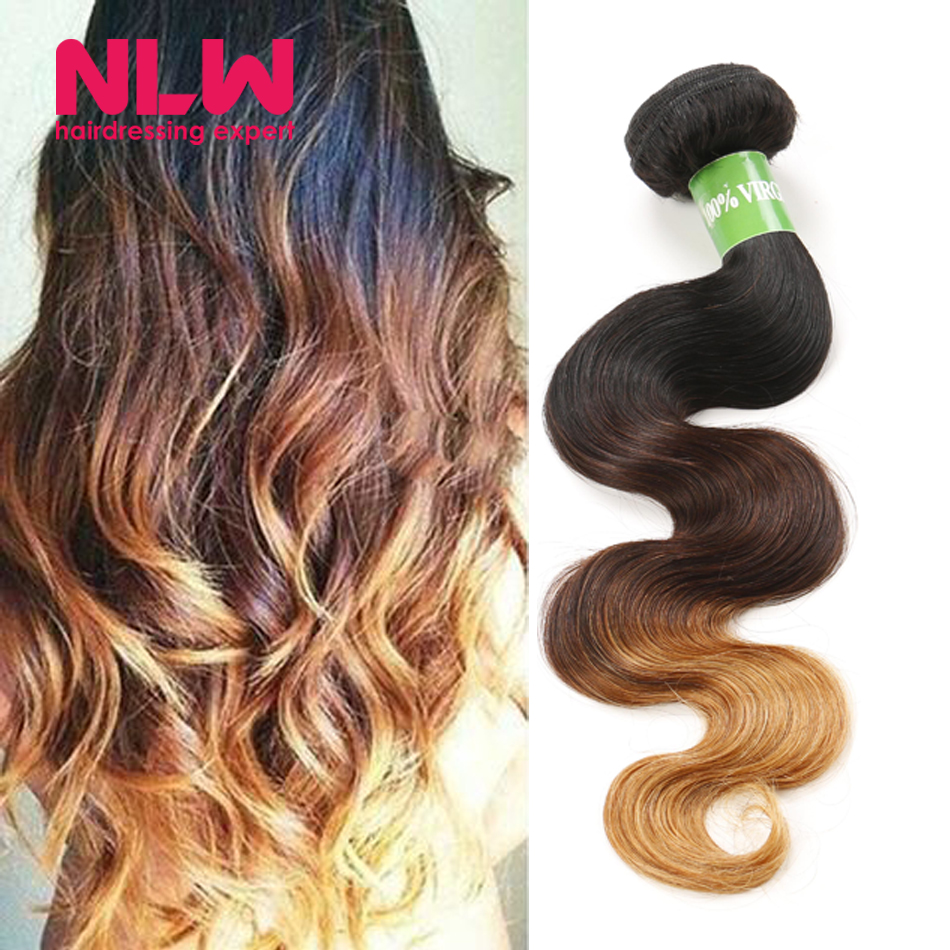 Buy Bulk China Full 8A Best Quality Colored Ombre Peruvian Body Wave Virgin Human Hair Blonde Extension 3 Bundles NLW Hair Wefts(China (Mainland))