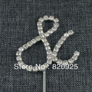 Rhinestone Diamante Letter Monogram Cake Toppers For Wedding Decoration