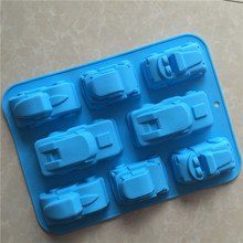 8 hole silicone cake mould with sport car shape,silicone hand make soap mould,Home diy bake mould,reusable break and toast mould