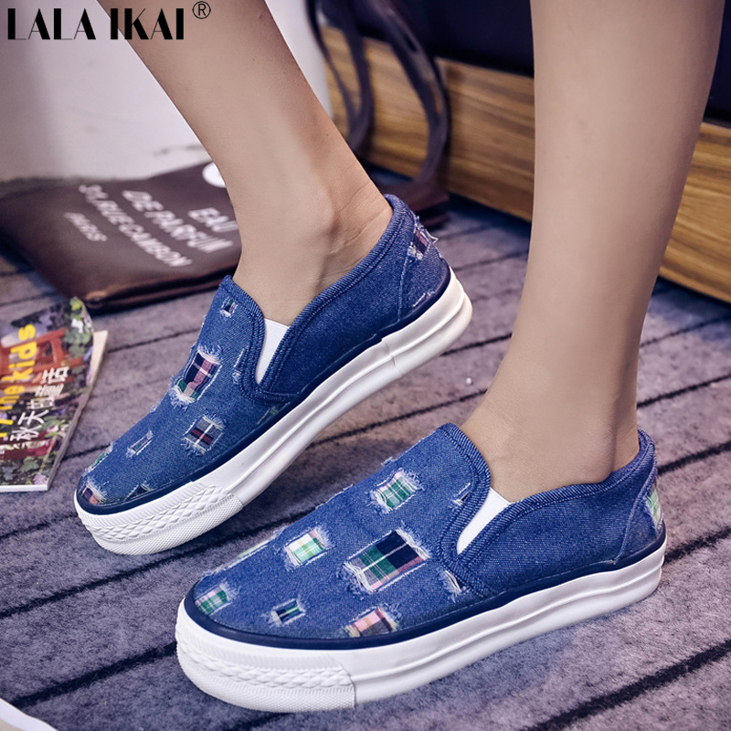Women Platform Sneakers Slip On Patchwork Canvas Shoes Spring Summer Girl's Women Fashion Sneakers Denim Shoes Woman XWA0139-5(China (Mainland))