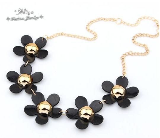 collares 2015 New Hot Sale Fashion brand jewelry metal Sweet Flowers Ocean Style Statement Necklaces for women Free Shipping<br><br>Aliexpress