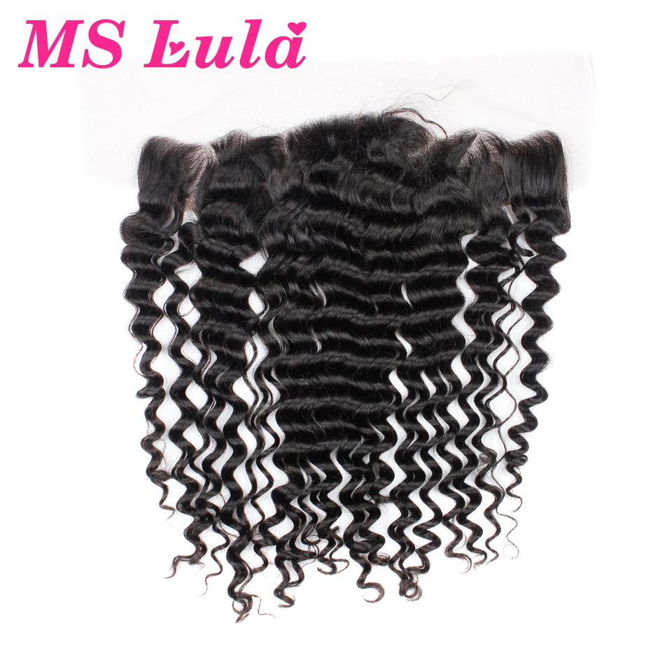 New Arrival brazilian virgin hair deep wave lace frontal closure 7A size 13x4 ear to ear with Baby hair Free shipping