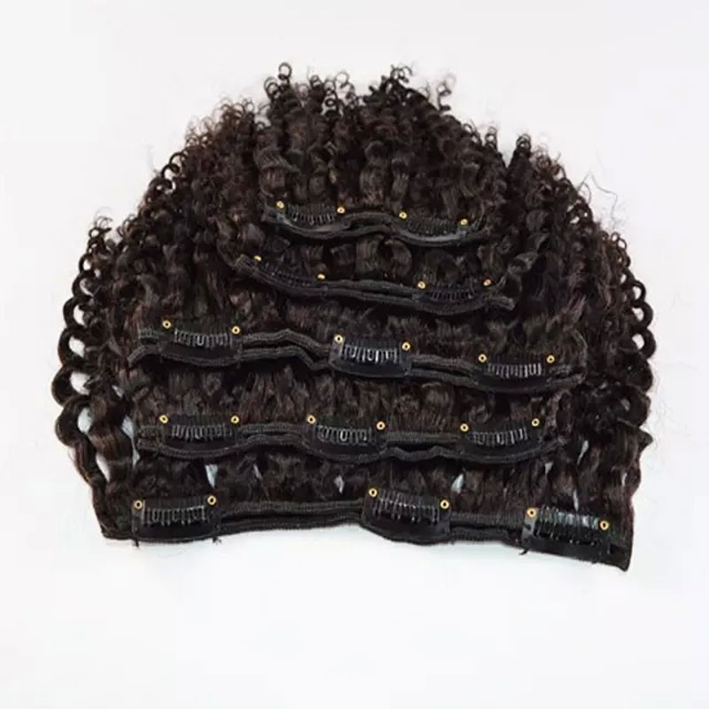 Mongolian Kinky Curly Hair Clip in Extensions African American Clip in Human Hair Extensions pince cheveux human hair extensions
