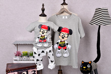 QZZ383 1pcs Summer family matching clothes Cute cartoon matching mother daughter son clothes Short sleeve family look t-shirts