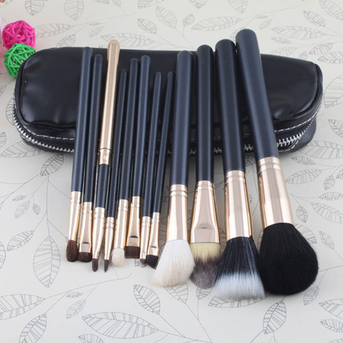 12 PCs Professional Makeup Brushes Soft Face Powder Brush Cosmetic Make Up Set With Case Bag Kit #11975