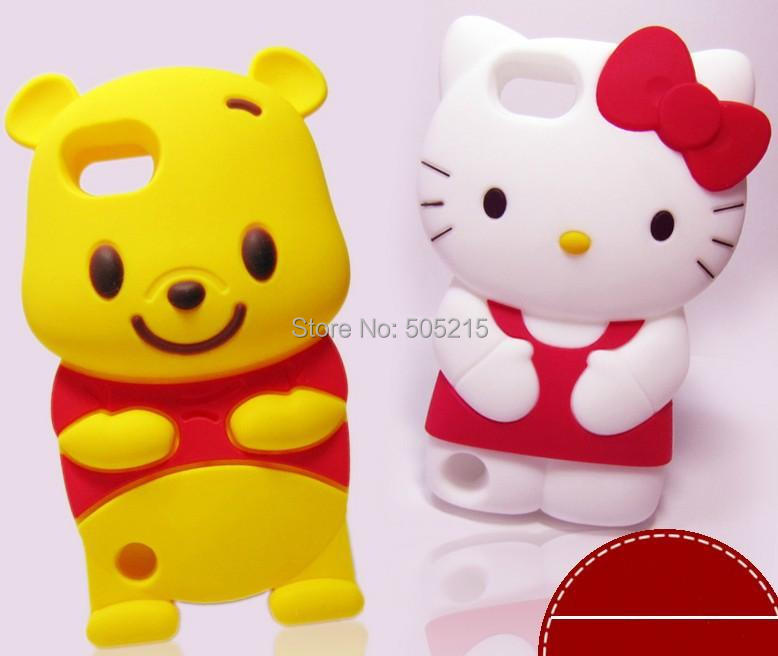 100pcs/lot Super Cute Silicone Soft 3D Hello Kitty Case for iPod Touch 4 5 Cartoon Kitty Cover Free DHL/ FedEx(China (Mainland))