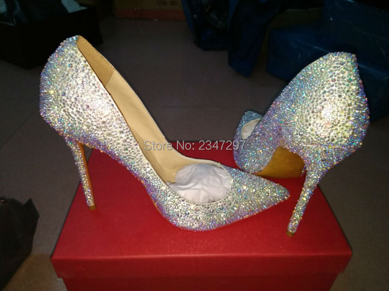 Real pictures Pointed Toe Thin High Heel Sweet Dress Stilettos Lady Evening Party Women Pumps Bling Rhinestone Wedding Shoes