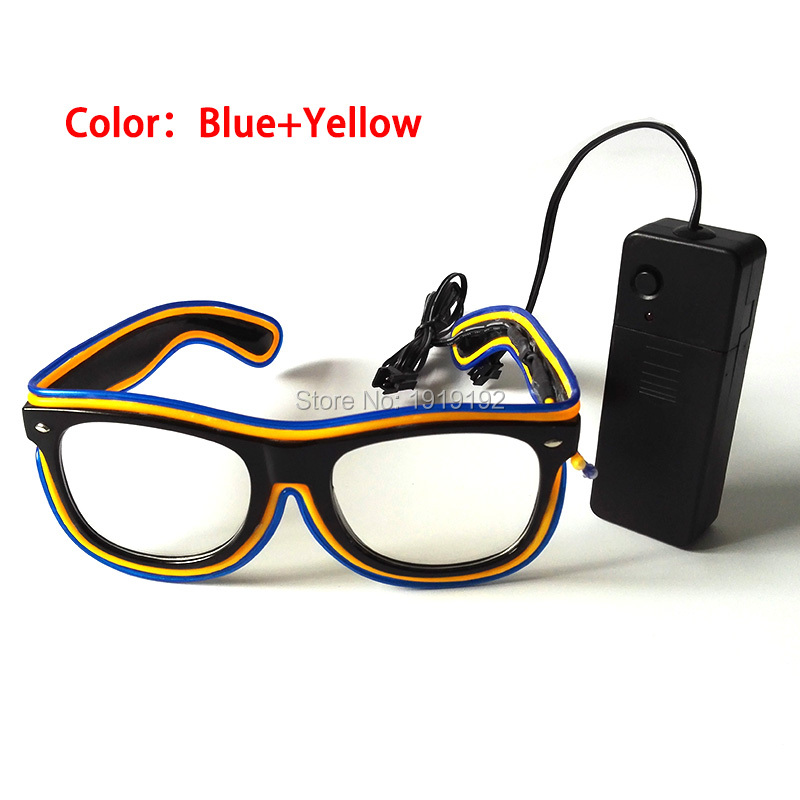 Double Color El Glasses El Wire Fashion Neon LED Light Up Shutter Shaped Glasses Rave Costume Party With DC-3V Sound Activated