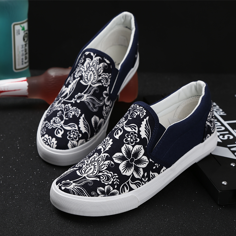 new 2015 men slip on sneakers low top canvas shoes 3 colors black blue red men