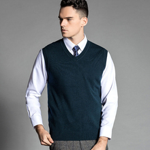 New men's Wool Vest 2016 Autumn And Winter Brand Fashion 100% Merino Wool V Neck Business Casual Sweater Vest Men 11 Color C3E03(China (Mainland))