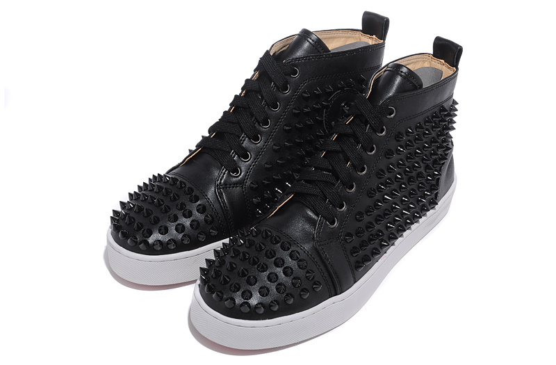 2015 fashion new red bottom louis spikes leather flat high top casual shoes women & mens,men bottoms - Cheap designer sungalsses store
