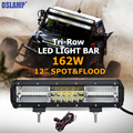 Oslamp Tri row 12inch 162W CREE Chips LED Light Bar Offroad Led Work Light Bar Spot