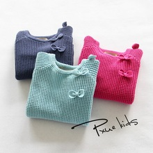 HOT Girls Pullovers Solid Knitted Sweater For Kids Children's Tracksuit Camisola Das Meninas With O-Neck jchao 3 Candy-colored