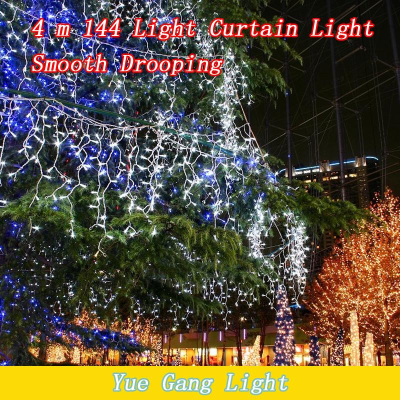 Smooth 144LED 4M curtain string lights 220V Christmas Garden lamps New year Icicle Lights Xmas Wedding Party free shipping(China (Mainland))