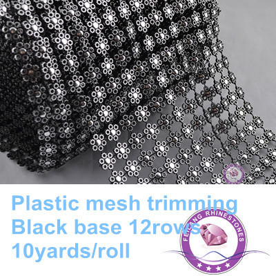 Good quality plastic mesh trimming 12rows silver rhinestone diamond mesh 10 yards/roll Handmade garment Jewelry accessories