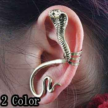 Fashion 2 Color Acrylic Silver Cobra Snake Earring Zinc Alloy Female Stued Earrings Gothic Style Male Fashion Jewelry(China (Mainland))