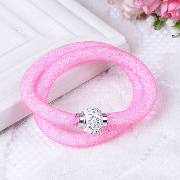 Women Jewelry 2 strands Crystal Mesh Wire Bracelet Bangle Stardust Tiny Crystal Stones Charm Fit Mesh Rhinstone Crystal bracelet(China (Mainland))