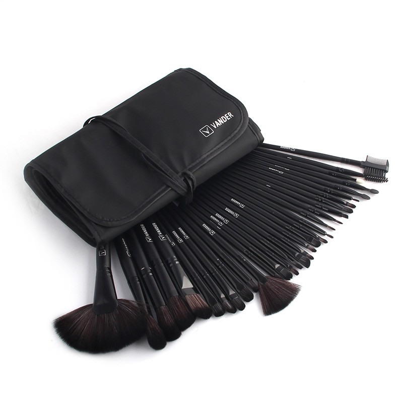 48hours Shipping, 32pcsset Black Profeesional Makeup Pinsel Face Lip Foundation Powder Cosmetic Make-up Kit + Pouch Bag (40)